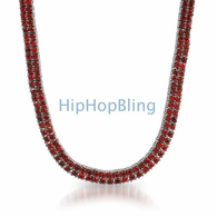 2 Row Chain All Red Stones on Rhodium