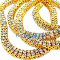 2 Row Gold Iced Out Bling Bling Chain 30 Inches * Premium *