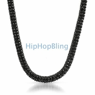 2 Row Iced Out Chain Black on Black Hot NEW Style