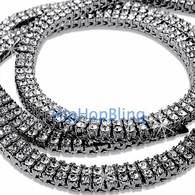 2 Row Rhodium Iced Out Bling Bling Chain 30 Inches * Premium *