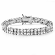 2 Row Stainless Steel Lab Made Bracelet