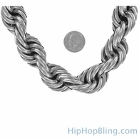 20MM Rhodium Dookie Rope Chain