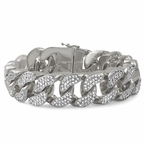 22MM Thick Rhodium CZ Bling Bling Bracelet