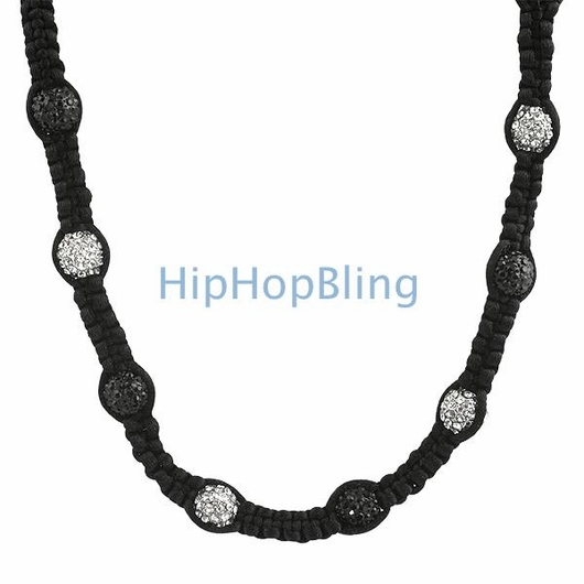 23 Disco Ball Black & White Iced Out Necklace