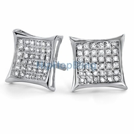 .25ct Diamond Kite Micro Pave Earrings .925 Silver