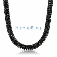 3 Row Everything Black Bling Bling Stone Chain