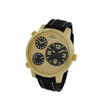 3 Time Zone Watch Polished Gold and Black Large Dial