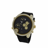 3 Time Zone Watch Polished Gold Black Band