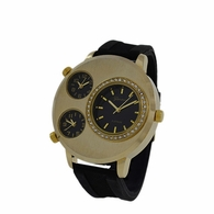 3 Timezone Gold and Black Brushed Watch
