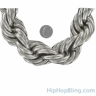 30MM Jumbo Dookie Rope Chain Rhodium