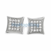 32 Stones Kite CZ Micro Pave Iced Out Earrings .925 Silver
