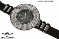 3D 8 Row Iced Out on Black Bling Bling Watch