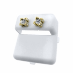 3D Box Real Diamond Earrings Gold .925 Silver