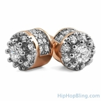 3D Cluster CZ Rose Gold Bling Bling Earrings