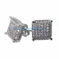 3D Cube Large .925 Silver CZ Micro Pave Bling Bling Earrings
