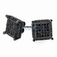 3D Cube Large Black CZ .925 Silver Micro Pave Earrings