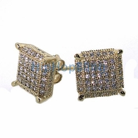 3D Cube Large Gold .925 Silver Micro Pave Earrings