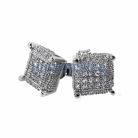 3D Cube Med .925 Silver Micro Pave Earrings