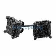 3D Cube Medium .925 Silver Black CZ Bling Micro Pave Earrings