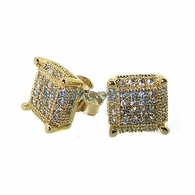 3D Cube Medium Gold .925 Silver Micro Pave Earrings