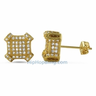 3D Edgy Box Gold CZ Bling Bling Earrings