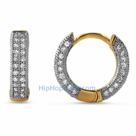 3D Gold Hoop Earrings CZ Rhodium Prongs