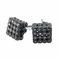 3D LG White on Black CZ Cube Bezel .925 Silver Micro Pave Earrings