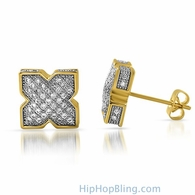 3D Pointed X Gold CZ Bling Bling Earrings