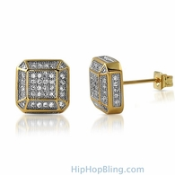3D Smooth Box Gold CZ Micro Pave Bling Earrings