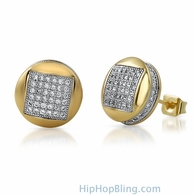 3D Square in Circle Gold CZ Bling Bling Earrings