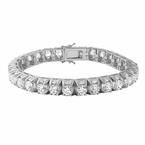 3D Thick Tennis Bracelet Rhodium