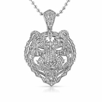 3D Tiger Face Detailed CZ Iced Out Pendant