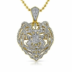 3D Tiger Face Micro pave CZ Gold Bling Bling Pendant