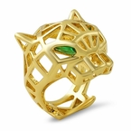 3D Wired Tiger Face Gold Fashion Ring