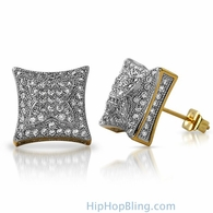 3D X Kite Gold CZ Micro Pave Hip Hop Earrings