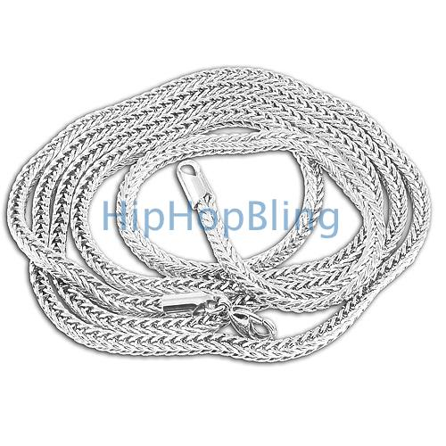 3mm Foxtail Franco Rhodium Hip Hop Chain