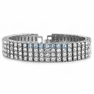4 Row Bling Bling Iced Out Bracelet Silver * Premium *