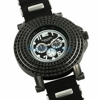 4 Row Cone Black Bling Bling Watch