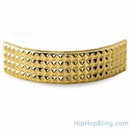 4 Row Pyramids Teeth Gold Grillz