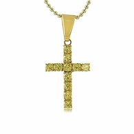 4MM Canary CZ Gold Stainless Steel Cross