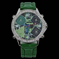 5 Time Zone CAMO Face Green Leather Band Watch