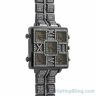 5 Time Zone Square Face Black Bling Bling Watch