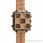 5 Time Zone Square Face Rose Gold Iced Watch