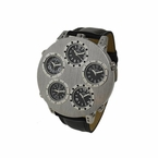 5 Time Zone Watch Brushed Silver Black Leather Band
