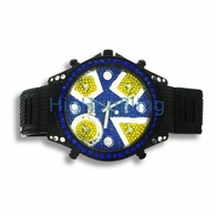 5 Timezone Black Watch Totally Iced Out With Blue Stones