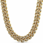 5000 Stones Baguette Lab Diamond Gold Cuban Chain