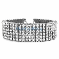6 Row Iced Out Bling Bracelet Silver * Premium *