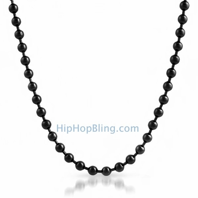 6mm Black Bead Dog Tag Ball Necklace
