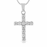 6MM CZ Bling Bling Cross Stainless Steel