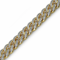 .925 Silver Gold 13MM CZ Cuban Iced Out Bracelet